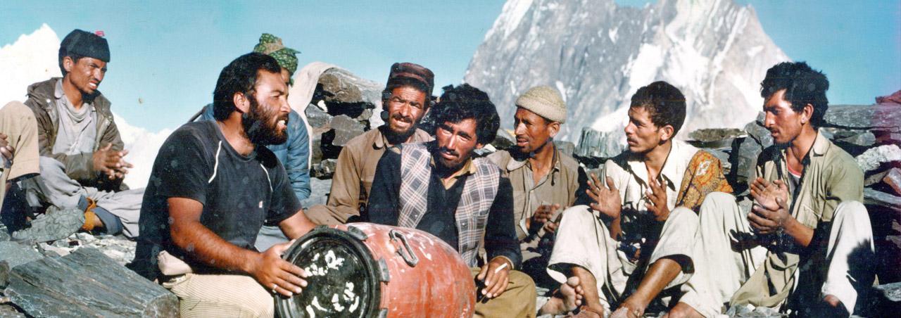 Haji Muhammad Iqbal Managing Director Baltistan Tours singing song at K2 Concordia